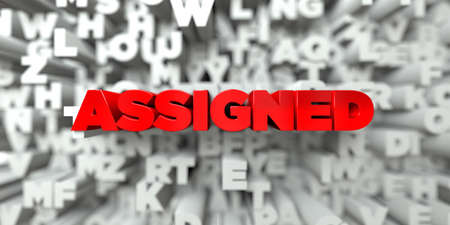assigned: ASSIGNED -  Red text on typography background - 3D rendered royalty free stock image. This image can be used for an online website banner ad or a print postcard. Stock Photo