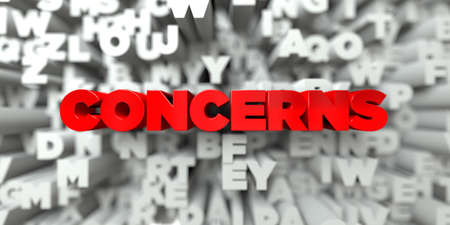 concerns: CONCERNS -  Red text on typography background - 3D rendered royalty free stock image. This image can be used for an online website banner ad or a print postcard. Stock Photo