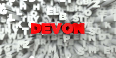 DEVON -  Red text on typography background - 3D rendered royalty free stock image. This image can be used for an online website banner ad or a print postcard.