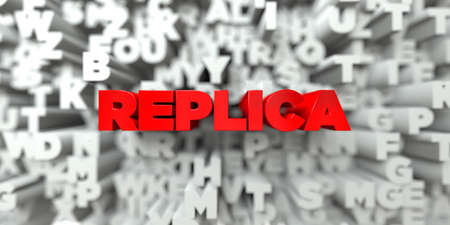 stock image: REPLICA -  Red text on typography background - 3D rendered royalty free stock image. This image can be used for an online website banner ad or a print postcard. Stock Photo
