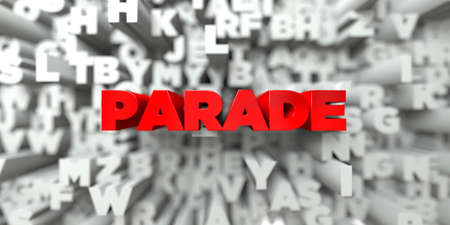 parade: PARADE -  Red text on typography background - 3D rendered royalty free stock image. This image can be used for an online website banner ad or a print postcard. Stock Photo