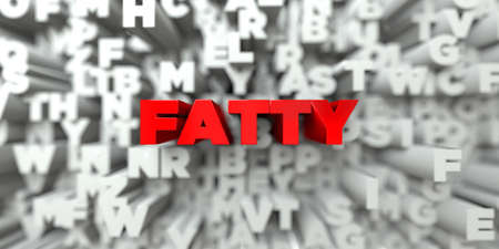 royalty: FATTY -  Red text on typography background - 3D rendered royalty free stock image. This image can be used for an online website banner ad or a print postcard.
