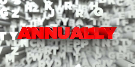 ANNUALLY -  Red text on typography background - 3D rendered royalty free stock image. This image can be used for an online website banner ad or a print postcard.