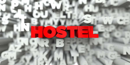 HOSTEL -  Red text on typography background - 3D rendered royalty free stock image. This image can be used for an online website banner ad or a print postcard.