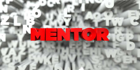 free stock: MENTOR -  Red text on typography background - 3D rendered royalty free stock image. This image can be used for an online website banner ad or a print postcard. Stock Photo