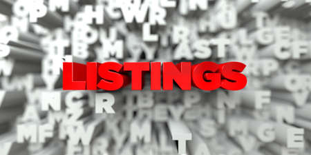 listings: LISTINGS -  Red text on typography background - 3D rendered royalty free stock image. This image can be used for an online website banner ad or a print postcard.