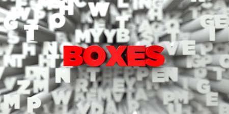 상자 - 타이 포 그래피 배경에 빨간색 텍스트 - 3D 렌더링 된 로열티 무료 재고 이미지. 이 이미지는 온라인 웹 사이트 배너 광고 또는 인쇄 엽서에 사용