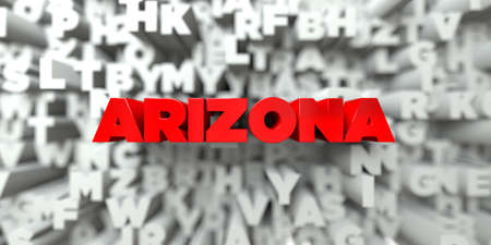 ARIZONA -  Red text on typography background - 3D rendered royalty free stock image. This image can be used for an online website banner ad or a print postcard.