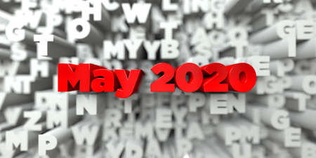 May 2020 -  Red text on typography background - 3D rendered royalty free stock image. This image can be used for an online website banner ad or a print postcard.
