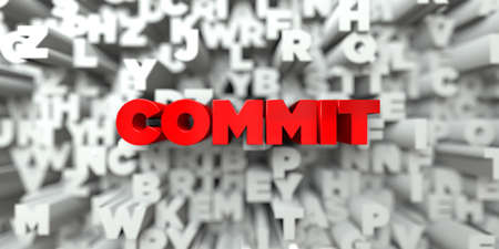 COMMIT -  Red text on typography background - 3D rendered royalty free stock image. This image can be used for an online website banner ad or a print postcard.