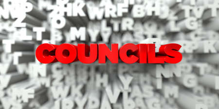 councils: COUNCILS -  Red text on typography background - 3D rendered royalty free stock image. This image can be used for an online website banner ad or a print postcard.