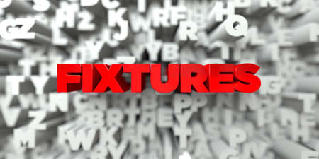 fixtures: FIXTURES -  Red text on typography background - 3D rendered royalty free stock image. This image can be used for an online website banner ad or a print postcard. Stock Photo