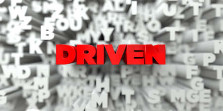 driven: DRIVEN -  Red text on typography background - 3D rendered royalty free stock image. This image can be used for an online website banner ad or a print postcard. Stock Photo