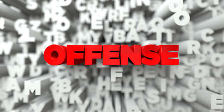 offense: OFFENSE -  Red text on typography background - 3D rendered royalty free stock image. This image can be used for an online website banner ad or a print postcard.
