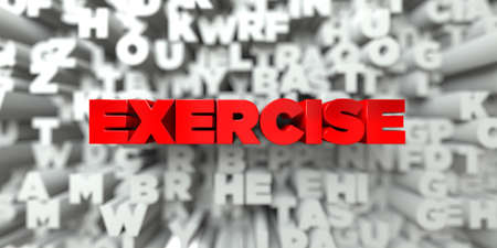 wording: EXERCISE -  Red text on typography background - 3D rendered royalty free stock image. This image can be used for an online website banner ad or a print postcard.