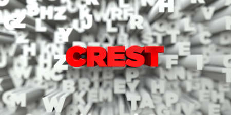 CREST -  Red text on typography background - 3D rendered royalty free stock image. This image can be used for an online website banner ad or a print postcard.