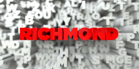 RICHMOND -  Red text on typography background - 3D rendered royalty free stock image. This image can be used for an online website banner ad or a print postcard.