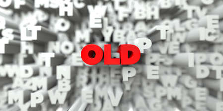free stock: OLD -  Red text on typography background - 3D rendered royalty free stock image. This image can be used for an online website banner ad or a print postcard.