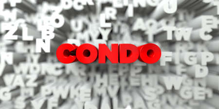 condo: CONDO -  Red text on typography background - 3D rendered royalty free stock image. This image can be used for an online website banner ad or a print postcard. Stock Photo