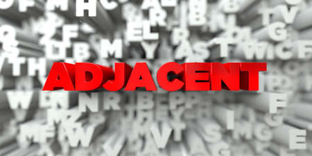 free stock: ADJACENT -  Red text on typography background - 3D rendered royalty free stock image. This image can be used for an online website banner ad or a print postcard.