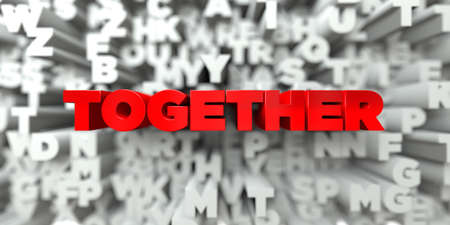 free stock: TOGETHER -  Red text on typography background - 3D rendered royalty free stock image. This image can be used for an online website banner ad or a print postcard.