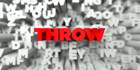 THROW -  Red text on typography background - 3D rendered royalty free stock image. This image can be used for an online website banner ad or a print postcard.