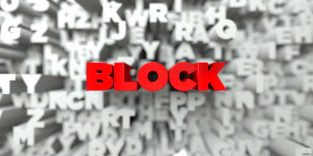 free stock: BLOCK -  Red text on typography background - 3D rendered royalty free stock image. This image can be used for an online website banner ad or a print postcard. Stock Photo
