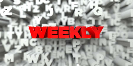 WEEKLY -  Red text on typography background - 3D rendered royalty free stock image. This image can be used for an online website banner ad or a print postcard.