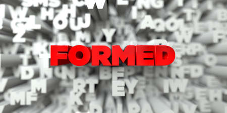 formed: FORMED -  Red text on typography background - 3D rendered royalty free stock image. This image can be used for an online website banner ad or a print postcard.