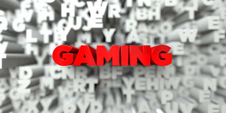 royalty: GAMING -  Red text on typography background - 3D rendered royalty free stock image. This image can be used for an online website banner ad or a print postcard.