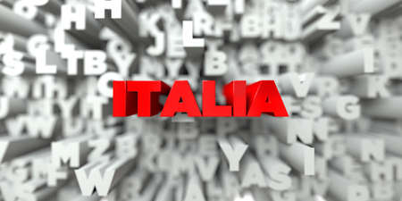 italia: ITALIA -  Red text on typography background - 3D rendered royalty free stock image. This image can be used for an online website banner ad or a print postcard.
