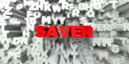 free stock: SAVER -  Red text on typography background - 3D rendered royalty free stock image. This image can be used for an online website banner ad or a print postcard. Stock Photo