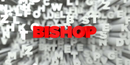 free stock: BISHOP -  Red text on typography background - 3D rendered royalty free stock image. This image can be used for an online website banner ad or a print postcard.