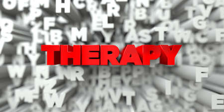 THERAPY -  Red text on typography background - 3D rendered royalty free stock image. This image can be used for an online website banner ad or a print postcard.