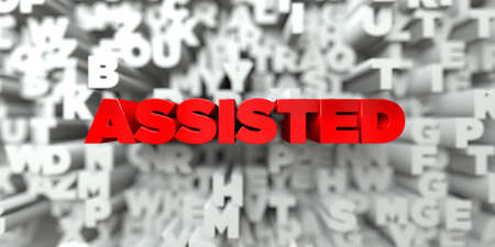 assisted: ASSISTED -  Red text on typography background - 3D rendered royalty free stock image. This image can be used for an online website banner ad or a print postcard.