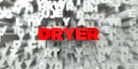 stock image: DRYER -  Red text on typography background - 3D rendered royalty free stock image. This image can be used for an online website banner ad or a print postcard. Stock Photo