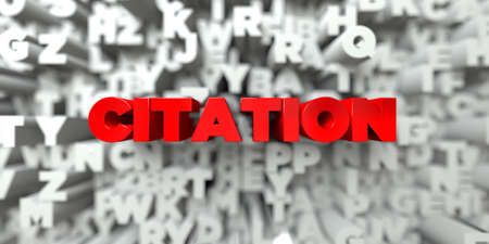 citation: CITATION -  Red text on typography background - 3D rendered royalty free stock image. This image can be used for an online website banner ad or a print postcard.