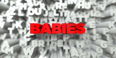 fondo para bebe: BEBÉS - texto rojo en el fondo de la tipografía - 3D representa la imagen de stock libre de imágenes. Esta imagen se puede utilizar para un anuncio bandera del Web site en línea o una postal de impresión.