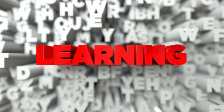 stock image: LEARNING -  Red text on typography background - 3D rendered royalty free stock image. This image can be used for an online website banner ad or a print postcard. Stock Photo