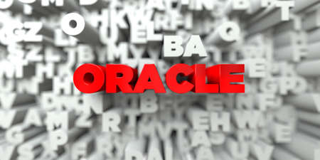 oracle: ORACLE -  Red text on typography background - 3D rendered royalty free stock image. This image can be used for an online website banner ad or a print postcard.