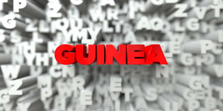 GUINEA -  Red text on typography background - 3D rendered royalty free stock image. This image can be used for an online website banner ad or a print postcard.