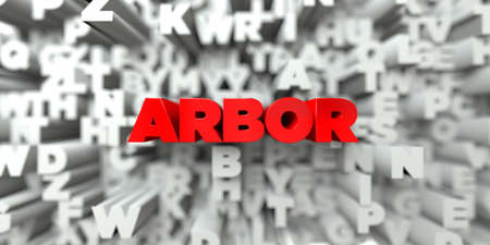 sentence typescript: ARBOR -  Red text on typography background - 3D rendered royalty free stock image. This image can be used for an online website banner ad or a print postcard.