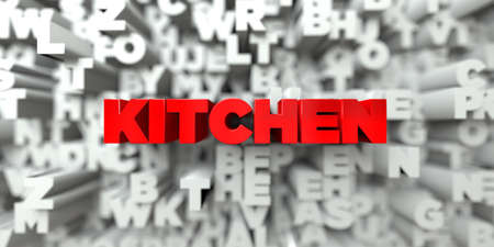 free stock: KITCHEN -  Red text on typography background - 3D rendered royalty free stock image. This image can be used for an online website banner ad or a print postcard.