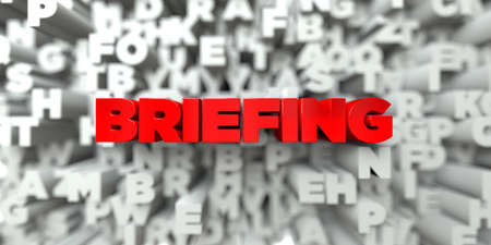 briefing: BRIEFING -  Red text on typography background - 3D rendered royalty free stock image. This image can be used for an online website banner ad or a print postcard.