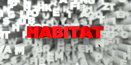 HABITAT -  Red text on typography background - 3D rendered royalty free stock image. This image can be used for an online website banner ad or a print postcard.