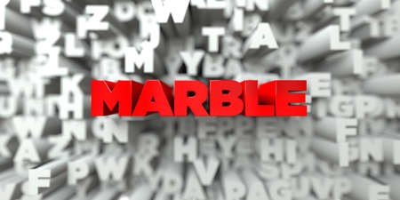 royalty: MARBLE -  Red text on typography background - 3D rendered royalty free stock image. This image can be used for an online website banner ad or a print postcard.