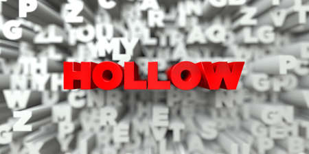 hollow body: HOLLOW -  Red text on typography background - 3D rendered royalty free stock image. This image can be used for an online website banner ad or a print postcard.
