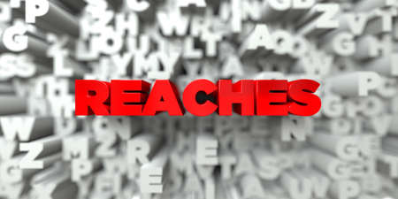 reaches: REACHES -  Red text on typography background - 3D rendered royalty free stock image. This image can be used for an online website banner ad or a print postcard.