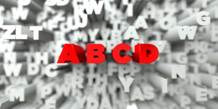A B C D -  Red text on typography background - 3D rendered royalty free stock image. This image can be used for an online website banner ad or a print postcard.