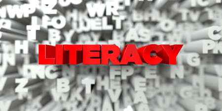 literacy: LITERACY -  Red text on typography background - 3D rendered royalty free stock image. This image can be used for an online website banner ad or a print postcard.